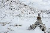 Path sign on Everest Base Camp trek in a haze ,Himalayas,Nepal — 图库照片