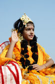 Girl dressed as Rukmini, wife of Lord Krishna at Pushkar traditional holiday,India — Stock Photo