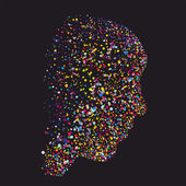 Grunge abstract human head silhouette, made of colourful dots — Stock Vector