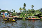 Tourist boats at Kerala backwaters  in Alleppey,Kerala,India — ストック写真