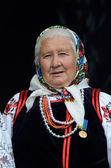 Senior women dancing in traditional ukrainian costume at Day of Kiev holiday — Stok fotoğraf