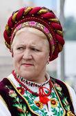 Senior women singing traditional ukrainian song at Day of Kiev holiday — Stock Photo