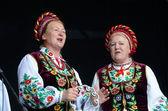 Senior women singing traditional ukrainian song at Day of Kiev holiday,Ukraine — Stok fotoğraf