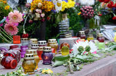 Memorial candles dedicated to Heaven sotnia , Maidan square,Kiev,Ukraine — Stock Photo