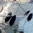 Two boat fenders, protecting the side of a sailing vessel — Stock Photo #51403149