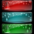 Set of Christmas glass banners — Stock Vector