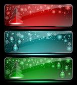 Set of Christmas glass banners — Stock Vector