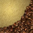 Burlap background with coffee beans — Stock Vector