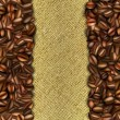 Burlap background with coffee beans — Stockvektor