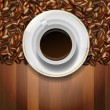 Cup and coffee beans on wooden background — Stock Vector