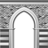 Entrance with arch, vector monochrome template — Stock Vector