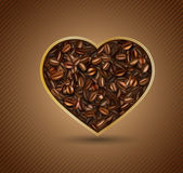 Heart from coffee beans — Stock Vector