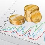 Trade diagram with golden coins — Stock Vector
