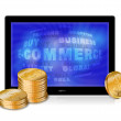 Tablet pc with golden coins isolated on the white background — Stock Vector