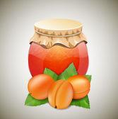Sklenice džemu s aprikots a dovolená — Stock vektor