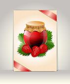 Flyer or brochure template, strawberry design — Stock Vector