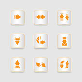 Paper icons set, arrows — Wektor stockowy