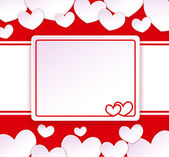 Paper banner with two hearts on the background with paper hearts — Stock Vector