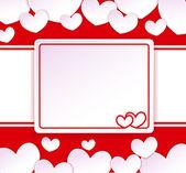 Kağıt afiş kağıt kalpleri ile arka planda iki kalp ile — Stok Vektör
