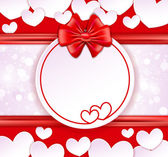 Paper banner with two hearts, bow and ribbons on the glowing bac — Stockvector