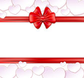 Paper banner with bow and ribbons on the white background with p — Stockvector