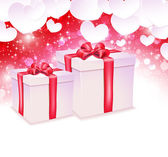 Glowing background with paper hearts and two gift box — Stockvektor