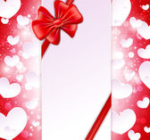 Paper banner with bow and ribbons on the glowing background with — Wektor stockowy
