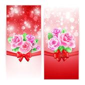 Svatební nebo pozvánky s růží — Stock vektor