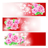 Wedding card or invitation with roses — Stock Vector