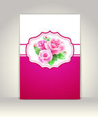 Wedding card or invitation with roses — Cтоковый вектор
