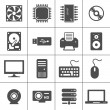 Computer Hardware Icons — Stock Vector