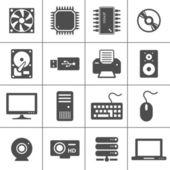 Ikony hardwaru počítače — Stock vektor
