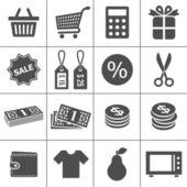 Winkelen iconen set - simplus serie — Stockvector