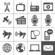 Stock vektor: Media icons set - Simplus series