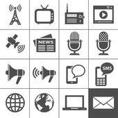 Los medios de comunicación conjunto de iconos - simplus serie — Vector de stock