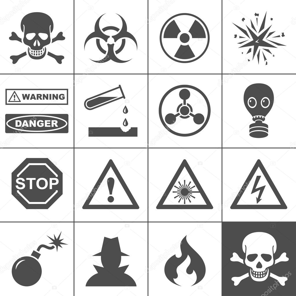 Danger and warning icons. Simplus series. Each icon is a single object (compound path) — Stockvectorbeeld #13627724