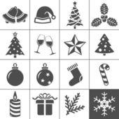 Set de navidad iconos - serie simplus — Vector de stock