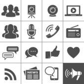 Media en sociale netwerk pictogrammen — Stockvector