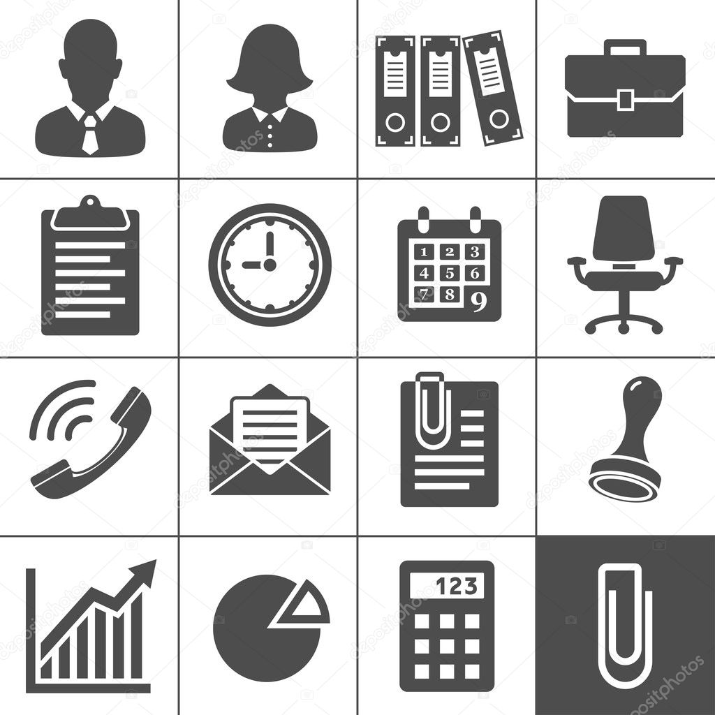 Office Icons. Simplus series. Each icon is a single object (compound path) — Image vectorielle #14869809