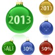 Christmas balls with sale tags - 2013 — Stock Vector