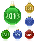 Christmas balls with sale tags - 2013 — Cтоковый вектор