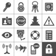 Security and warning icons. Simplus series — Stockvectorbeeld