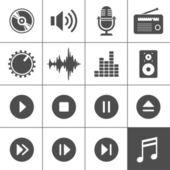 Hudba a zvuk ikony - simplus série — Stock vektor