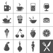 икона набор продуктов питания и напитков. серия simplus — Cтоковый вектор