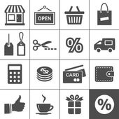 ショッピングのアイコンを設定 - simplus シリーズ — ストックベクタ