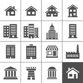 Buildings Icons — Vettoriale Stock