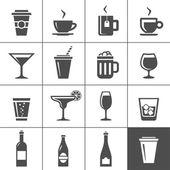 алкогольные и безалкогольные напитки иконки — Cтоковый вектор