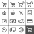 Shopping icons set - Simplines series — 图库矢量图片