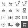 Shopping icons set - Simplines series — Stock Vector
