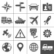 Transportation icons set. Simplus series — Stock Vector